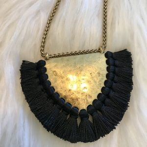 EUC Lucky Brand Black Tassel Necklace
